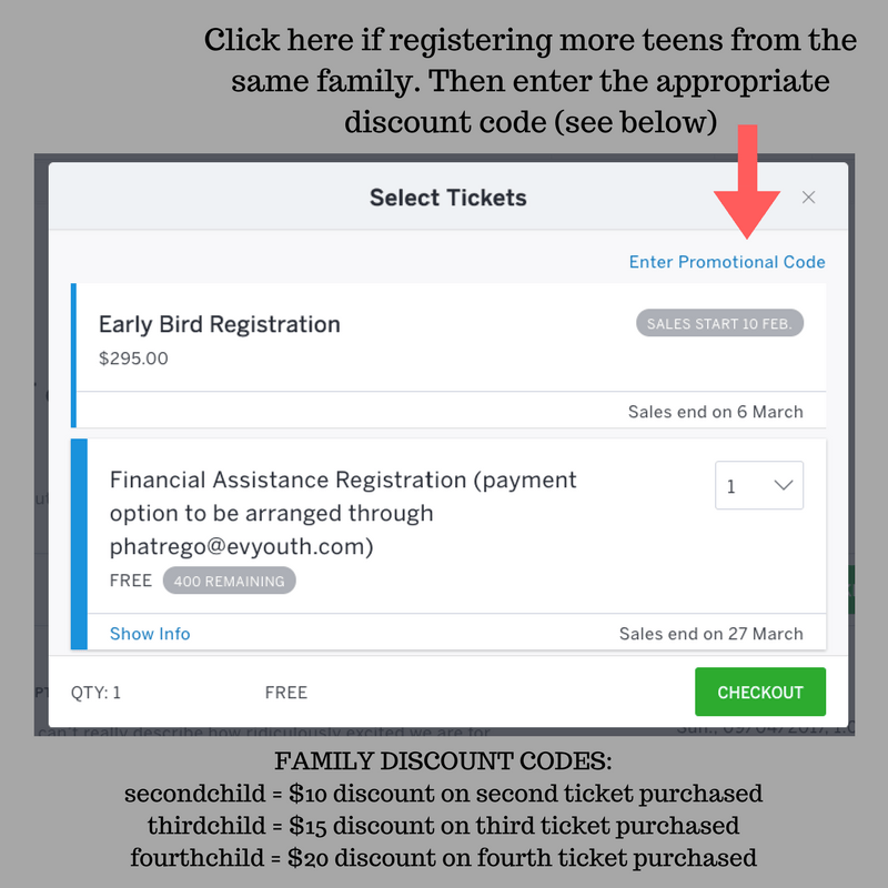 Click here if registering more teens from the same family. Then enter the appropriate discount code (see below)